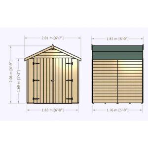 Overlap Dipped Double Door flatpacked 6 x 6ft