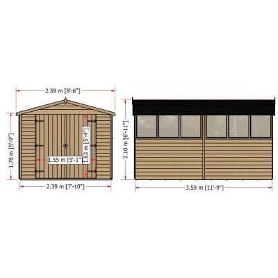 Overlap Dipped Double Door flatpacked 12 x 8