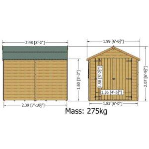 Overlap Dipped Double Door 8 x 6ft
