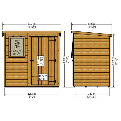 Shiplap Pent 6 x 4ft Shed Single door