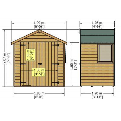 Bute 4 x 6ft Shed Double Door