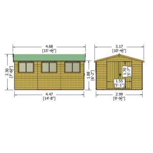 Workspace 10 x 15ft Shed Double door