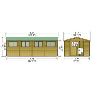 Workspace 10 x 20ft Shed Double door