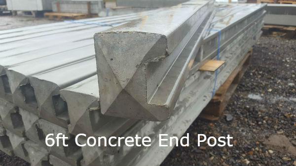 6ft Concrete End Post