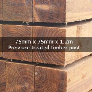 75mm x 75mm x 1.2m Pressure Treated Timber Post